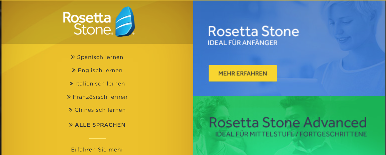 Screenshot Webseite Rosetta Stone