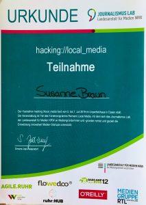 Teilnahme-Bestätigung am Hackathon hacking://local_media für Susanne Braun