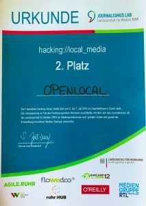 Urkunde 2. Platz Hackathon hacking://local_media für Open Local